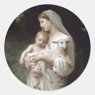L'Innocence, William-Adolphe Bouguereau Runder Aufkleber