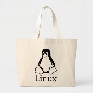 Linux-Logo mit Tux der Linux-Pinguin Jumbo Stoffbeutel
