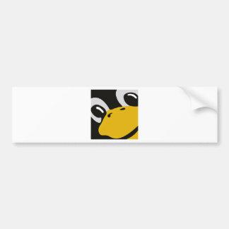 Linux-Smoking-Pinguin mustert Porträt Autoaufkleber