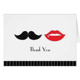 Lippen und Schnurrbart-Hochzeit danken Ihnen zu Mitteilungskarte