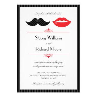Lippen und Schnurrbart-Hochzeits-Einladung v 2