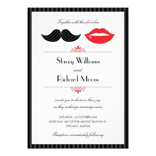 Lippen und Schnurrbart-Hochzeits-Einladung v.2