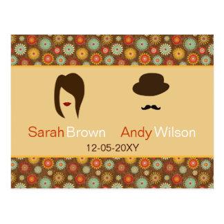 Lippen und Schnurrbartretro Blumenhochzeits-uAwg Postkarte