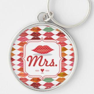 Lippenfrau Hipster Vintage Retro Bride Schlüsselanhänger
