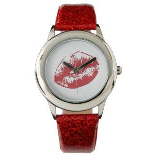 LippenGlitter mit rosa Glitter-Bügel-Uhr Uhr