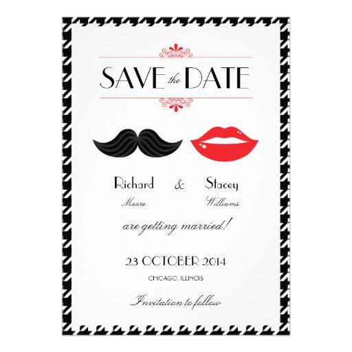 Lippenschnurrbart-Hahnentrittmuster, das Save the Einladungskarte