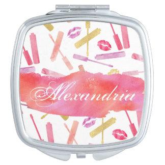 Lippenstift-Glanze u. Taschenspiegel