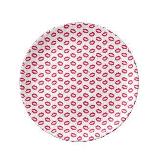 Lippenstift-Rosa-Küsse Teller