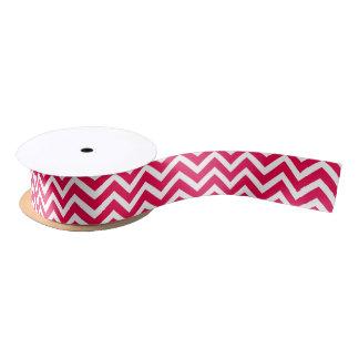 Lippenstift-rosa und weißer Zickzack Zickzack Satinband