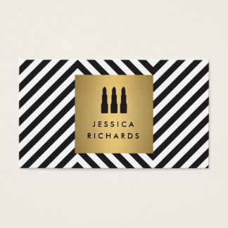 Lippenstift-Trio-Logo auf Retro schwarzem/weißem Visitenkarten