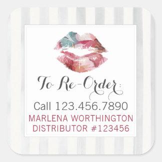 Lippenstift-Verteiler-Aquarell-Lippe ordnen Quadratischer Aufkleber