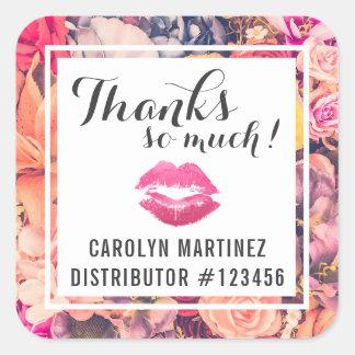 Lippenstift-Verteiler-Blumenkuß danken Ihnen zu Quadratischer Aufkleber