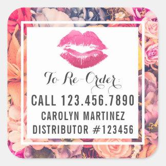 Lippenstift-Verteiler-Blumenkuß ordnen Aufkleber
