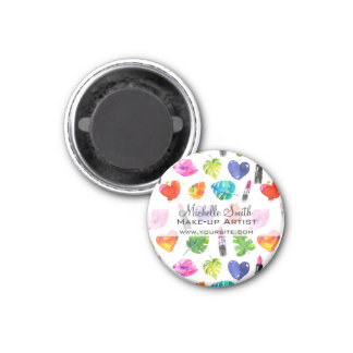 Lippenstiftmuster-Make-upeinbrennen des Aquarells Runder Magnet 2,5 Cm
