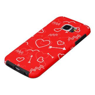 Lippenstiftrotes weißes Valentines-Liebe-Herz und