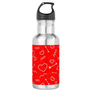Lippenstiftrotes weißes Valentines-Liebe-Herz und Trinkflasche