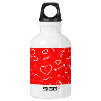 Lippenstiftrotes weißes Valentines-Liebe-Herz und Wasserflasche