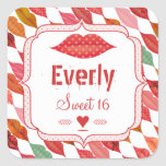 Lips Mrs. Hipster Vintage Retro Bride Square Stickers