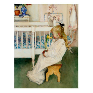 Lisbeth mit gelber Tulpe Postkarte