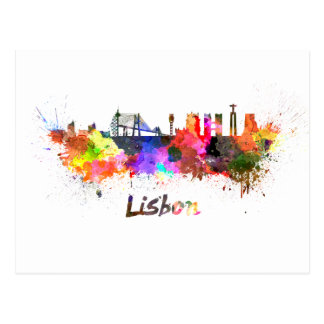 Lisbon skyline im Watercolor Postkarte