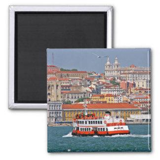 Lissabon-Ansicht vom Tajo Quadratischer Magnet