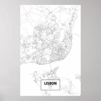 Lissabon, Portugal (Schwarzes auf Weiß) Poster