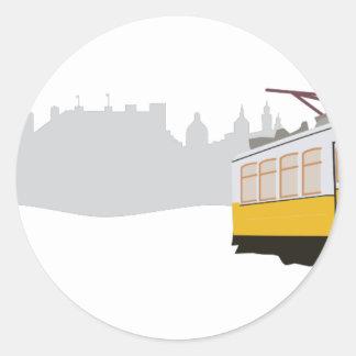 Lissabon-Tram Runder Aufkleber
