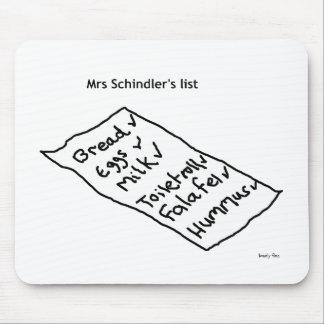 Liste Mousemat Frau Schindlers Mauspads