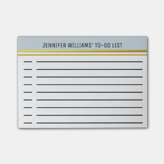 Listen taubenblaues Gold Striped moderne Post-it Klebezettel