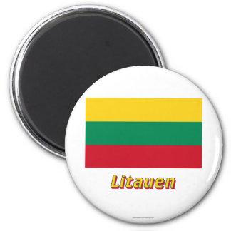 Litauen Flagge MIT Namen Runder Magnet 5,7 Cm