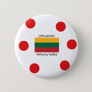 Litauen-Flagge und litauischer Sprachentwurf Runder Button 5,7 Cm