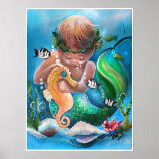 Little Boy Merm und sein Seepferd Poster