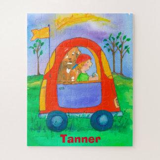 Little Boy und Hundespielzeug-Auto-Kinder Puzzle