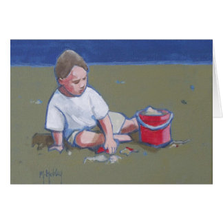 Little Boy und Sandcastle auf Strand Karte