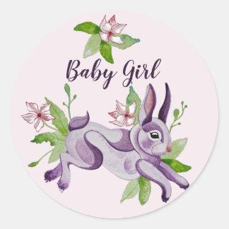 Little bunny im Watercolor Runder Aufkleber