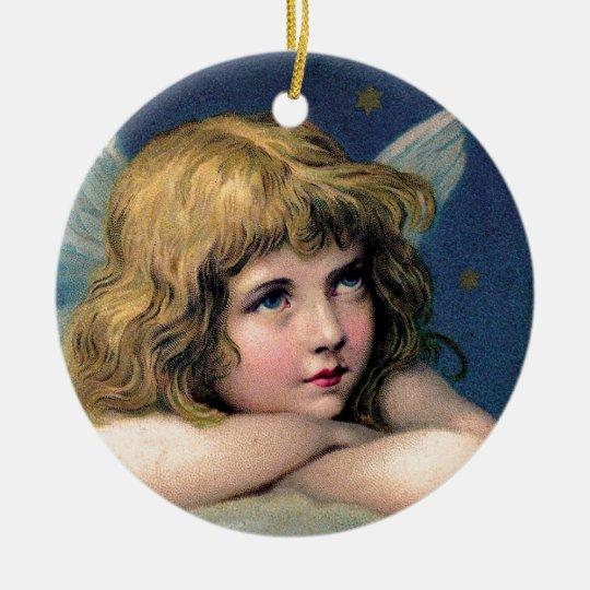 Little christmas angel rundes keramik ornament