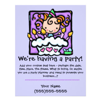 LITTLEGIRLIE Geburtstags-Party-Gewohnheitsmitteilu 21,6 X 27,9 Cm Flyer
