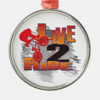 Live-BMX Radfahrer der Fahrt2 Silbernes Ornament