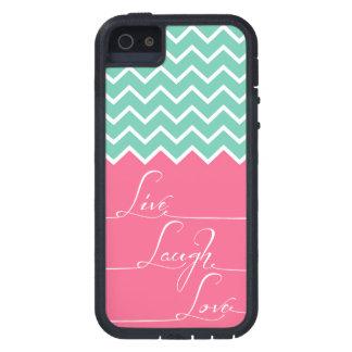 Live-, Lachen, Liebe/Rosa und grünes Zickzack iPhone 5 Hüllen