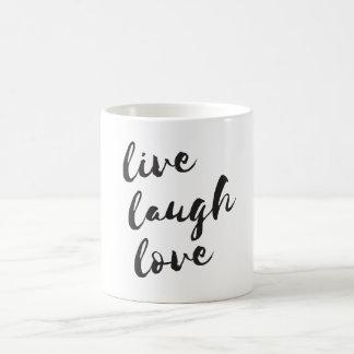 Live, Lachen, Liebe. Typografische Tasse
