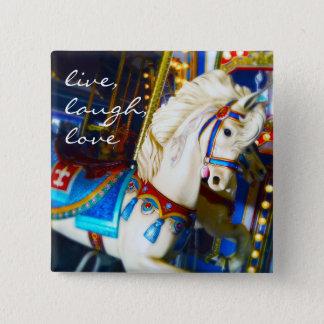 """""""Live, Lachen, Liebe"""" Zitatkarussell-PferdeFoto Quadratischer Button 5,1 Cm"""