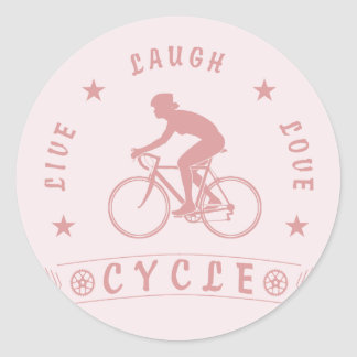 Live Laugh Love Cycle Dame Text (Rosa) Runder Aufkleber
