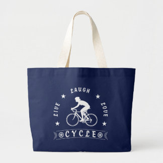 Live Laugh Love Cycle Dame Text (weiß) Jumbo Stoffbeutel