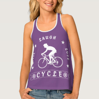 Live Laugh Love Cycle Dame Text (weiß) Tanktop