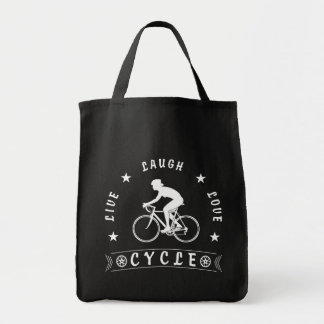 Live Laugh Love Cycle Dame Text (weiß) Tragetasche