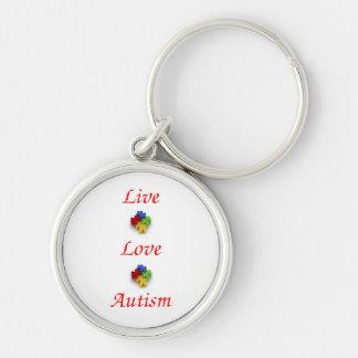 Live~ Liebe ~ Autismus Silberfarbener Runder Schlüsselanhänger