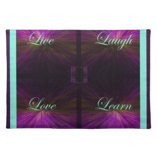 Live, Liebe, Lachen, lernen Sie - Lila Stofftischset