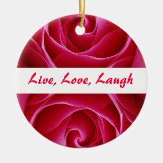 Live, Liebe, Lachen-Verzierung Rundes Keramik Ornament