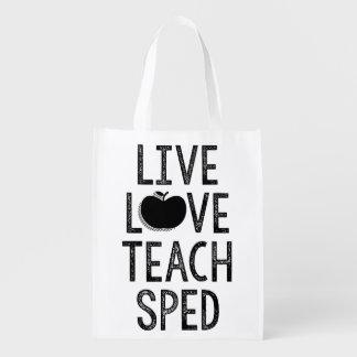 Live. Liebe. Unterrichten Sie. BESCHLEUNIGT. Wiederverwendbare Einkaufstasche