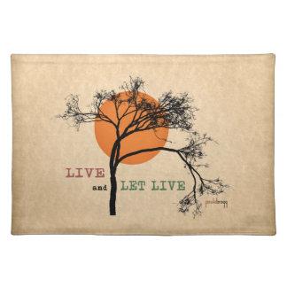 Live- und gelassenes Live (Erholungs-Silhouetten) Stofftischset